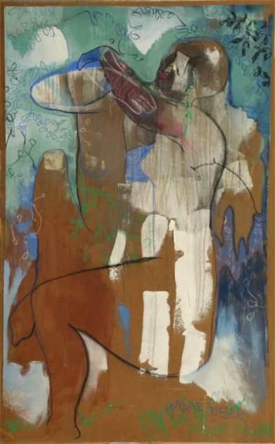 """ wild tiger "" -2007, cm 100x200, mixed on wood"