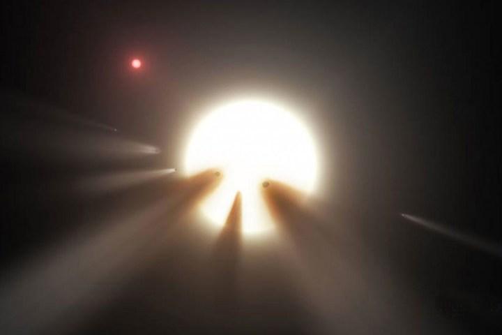 A fénycsökkenést a csillag előtt elhaladó hatalmas üstökösraj okozná? (Nem megfigyelés, csak elképzelés.)