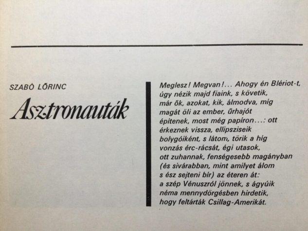Szabó Lőrinc: Asztronauták (1979, Galaktika 34)