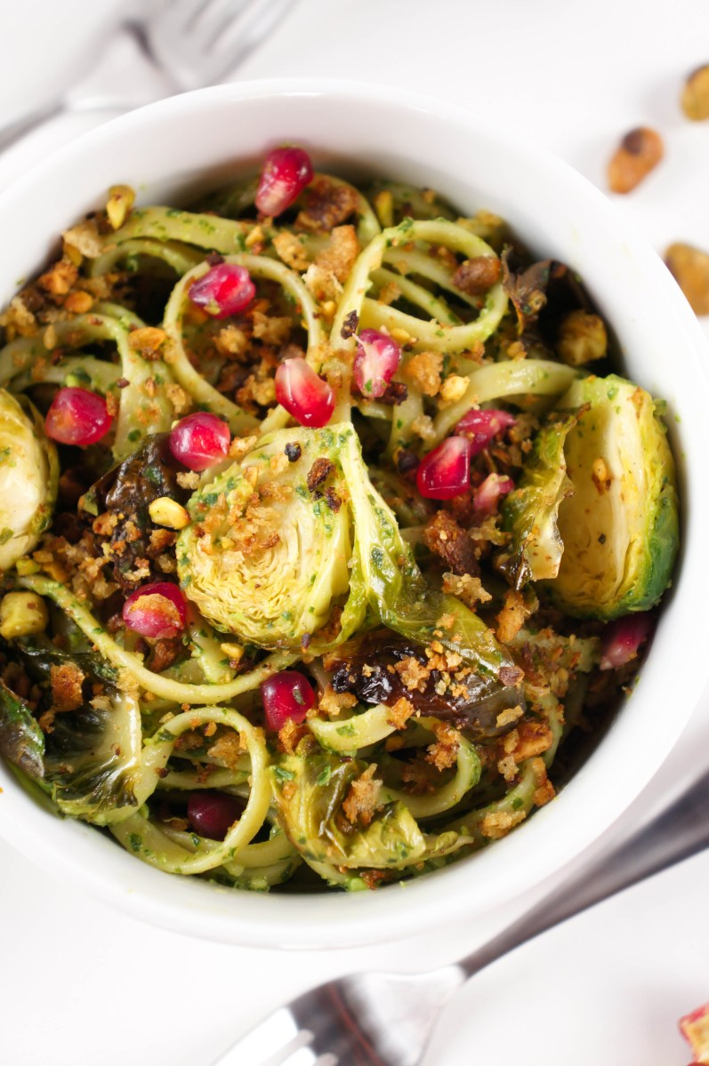 Brussels Sprout-Kale Pesto Pasta with Toasted Pistachio Crumble