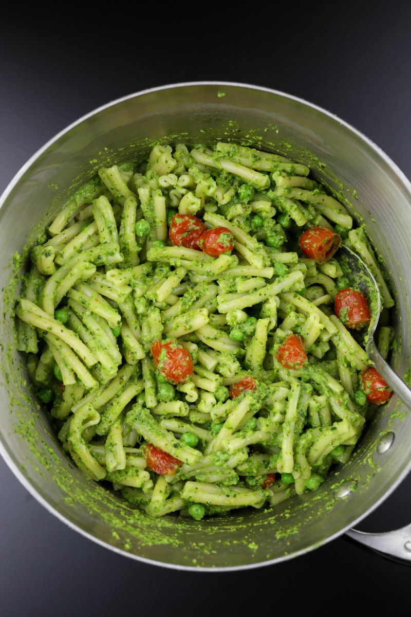 Kale and Pea Pesto with Oven Roasted Tomatoes