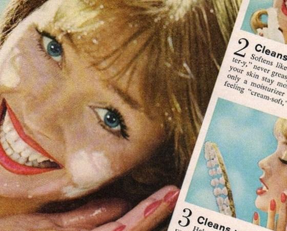 wycinek retro reklamy prasowej, reklamującej produkt do mycia twarzy