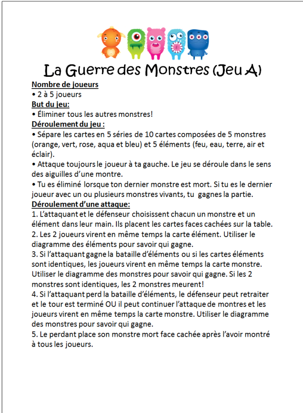 Multi-Monstres 1.1 Rules A