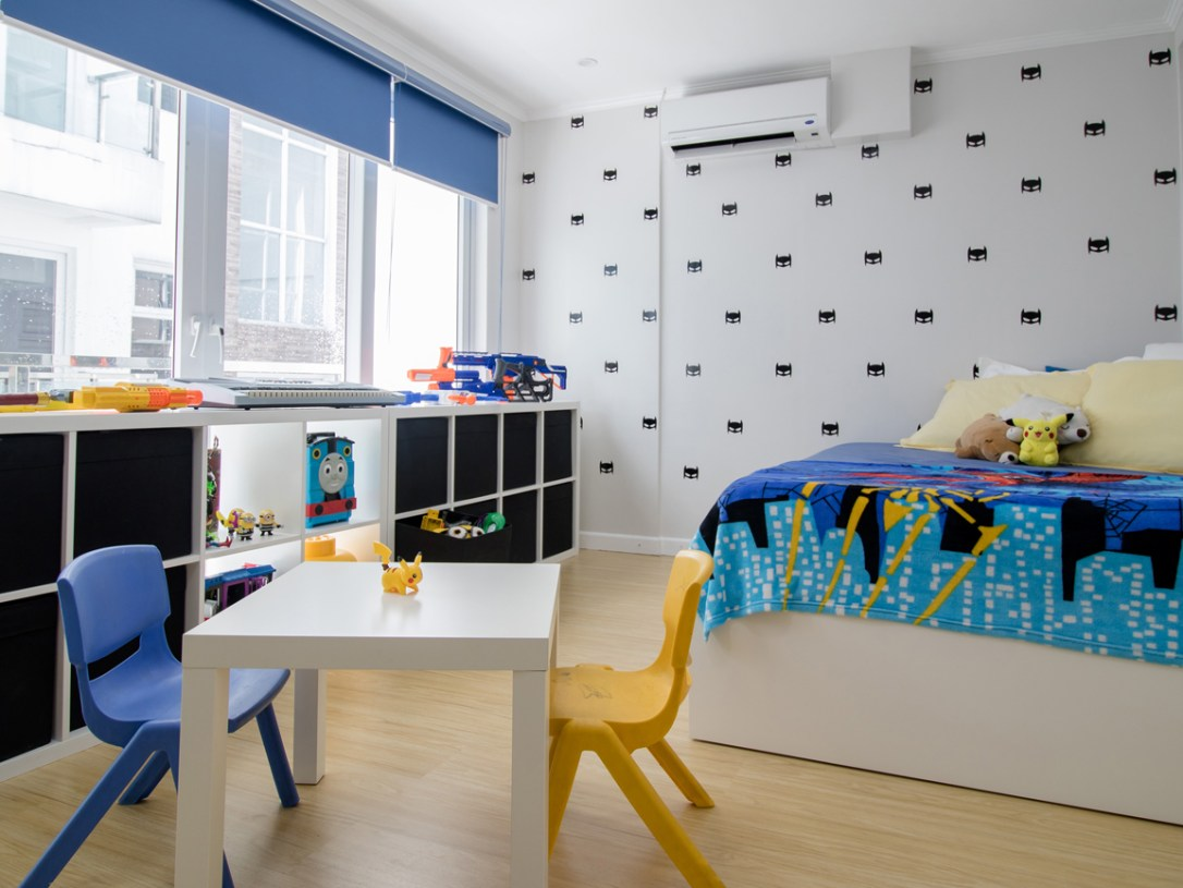 blue and yellow kids' bedroom