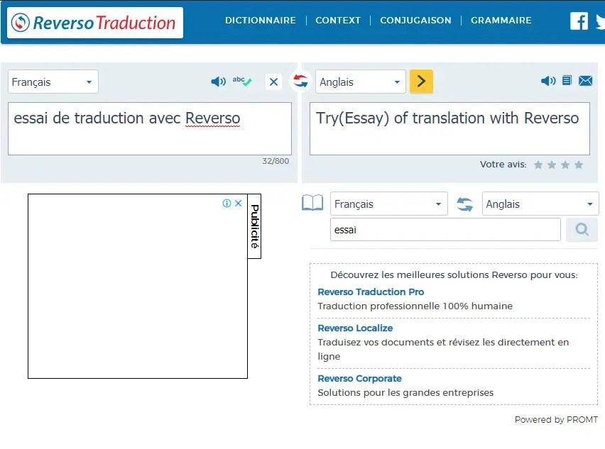 Reverso : Un autre site pour traduire un texte en ligne