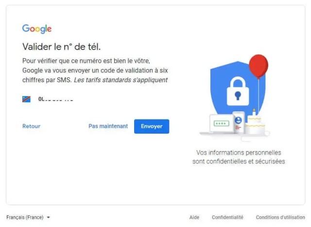 création d'un compte Google par la validation du numéro