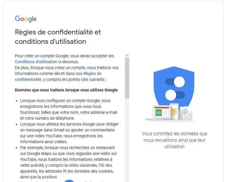 création d'un compte google - CGU et Politique de confidentialité