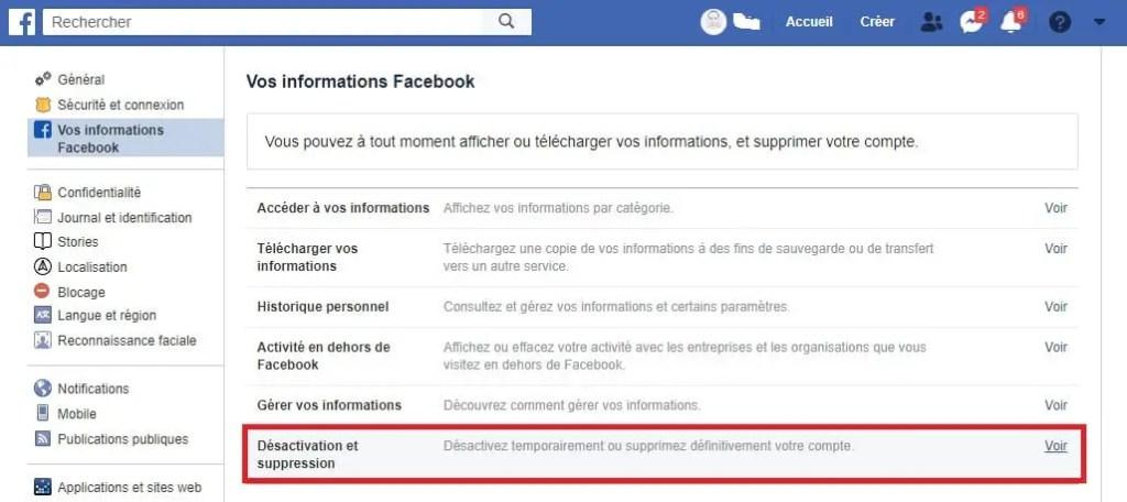 désactiver et supprimer un compte facebook