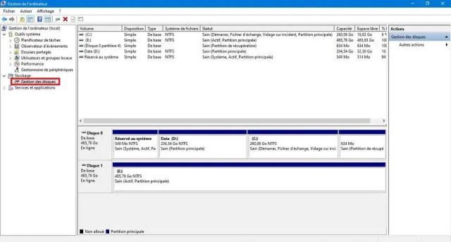 Accéder au gestionnaire de disque pour créer une partition de disque dur