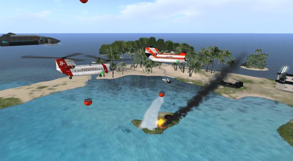 Crewman littleastro snuffs out a fire