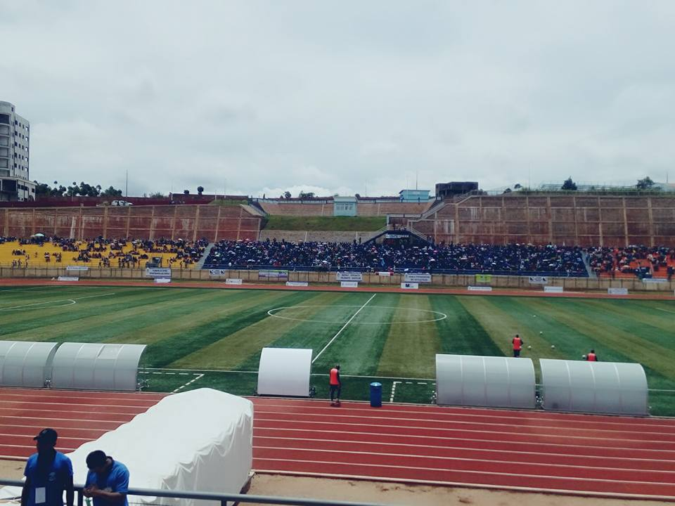 Spectators already in Vontovorona Stadium  ahead of 2.30pm clash