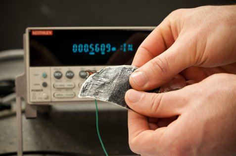 Courtesy of Wake Forest University -- Powering up the thermoelectric clothe.