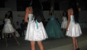 Some kind of choreographed dance with her friends.