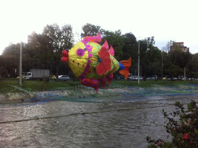 Odd Christmas Display over the river in Medellin