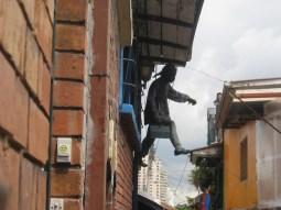 Paper Machete hanging artwork around Bogota