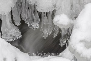 Ice formed from stream in Kennebec Highlands, Rome, Maine.