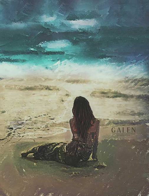 Digital Mixed Media Emotive Beach Scene by Galen Valle