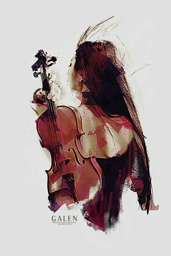 Strings - Abstract Woman with Violin Art Print by Galen Valle