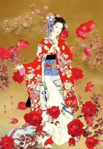 Гейша с розами - Японские девушки - Красивые картинки ...