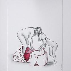 Déshabillant_la_maison11_24x32_Lápiz y tinta sobre papel