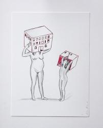 Déshabillant_la_maison3_24x32_Lápiz y tinta sobre papel