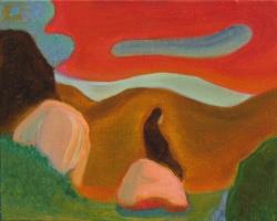La roca, 2017. Óleo sobre lienzo. 24 x 30 cm