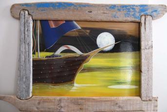 ANCLADO EN EL BRILLO LUNAR_ACRÍLICO Y BARNIZ SOBRE TABLA 100 X 70 CM CON MARCO artesanal 850