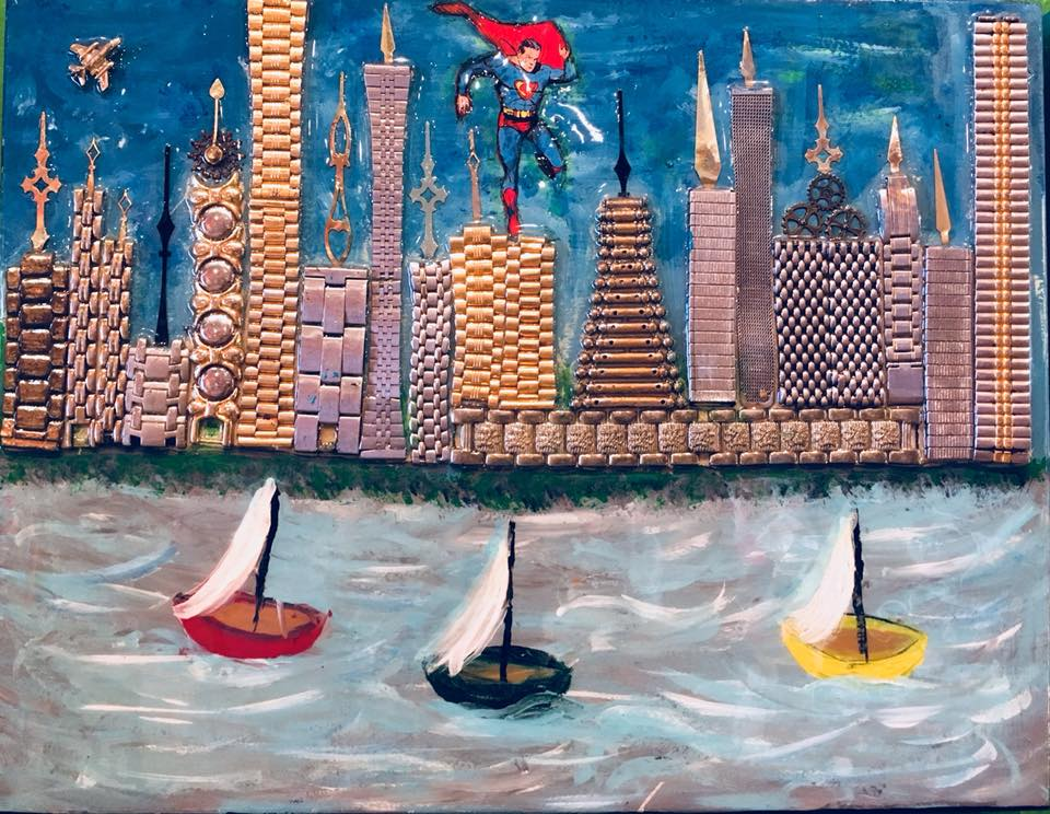 "Steampunk City by Manú Mixed media on wood 11"" x 14"""