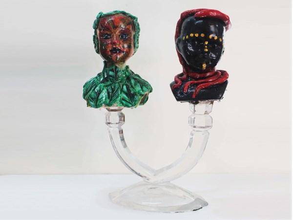 Manú Shangó Oggún 10alto x 5.5 x 3.5 Found objects sculpture