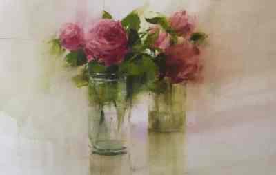 Rosas I- acuarela-25x40cms.