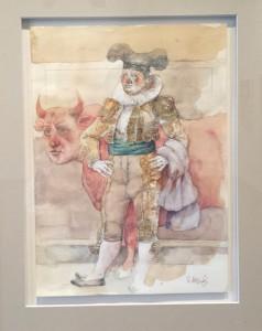 Vicente Arnás - Torero y minotauro - T. mixta 33x24 cm