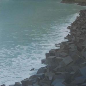 Mas allá del rumor de la marea, oculta en el silbido de los vientos... 100x100cm oleo-tabla