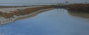 ... por esta orilla sin principio, sin el recuerdo de sus límites 40x100cm oleo-tabla