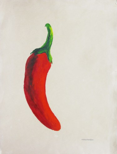 Massimo Catalani, Peperoncino, 2000, óleo sobre papel, 30 x 40 cm