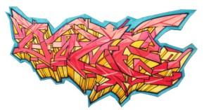 42.- Laura Ortíz, Sin título I (Grafitti horizontal), hilo de bordar y cera sobre madera, 30 x 60 cm