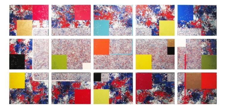 56.- Gabriel Guerrero, Child, 2014, óleo sobre tela, 84.5 x 176 cm (Políptico 15 piézas 28x35cm)