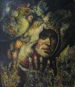 Armando Villegas, Guerrero con duendes, 2012, Óleo mixta sobre tela sobre madera, 47.5 x 40 cm