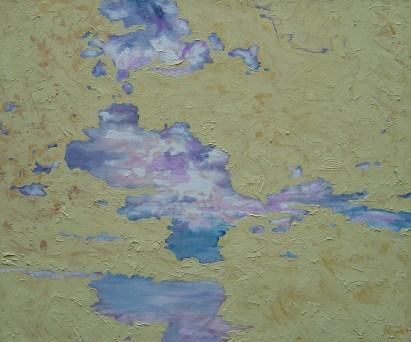 Mariana Pereyra, Serie síntesis de cielo, Cielo en amarillo II, 2004, óleo y arena sobre lino, 63 x 75 cm