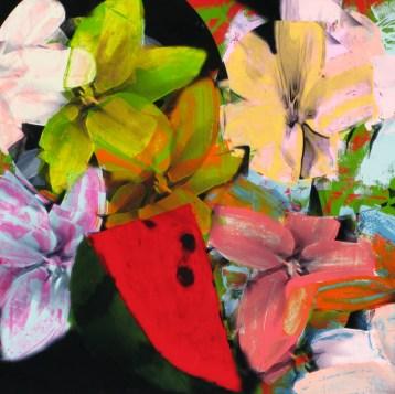 Carolina Convers, Naturaleza II, 2011, impresión y esmalte sobre acetato, 90 x 90 cm.