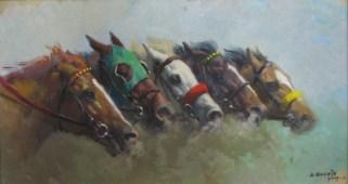 10.- Alfredo Enguix, La llegada, Óleo sobre tabla, 30 x 55 cm