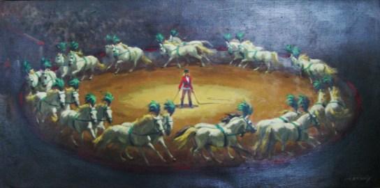 14.- Alfredo Enguix, El circo, Óleo sobre tela, 39 x 79 cm