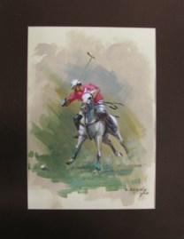 6.- Alfredo Enguix, Jugador de Polo 1, Óleo sobre papel, 30 x 20 cm