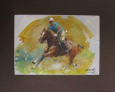 9.- Alfredo Enguix, Caballo de polo, Óleo sobre papel, 20 x 28 cm