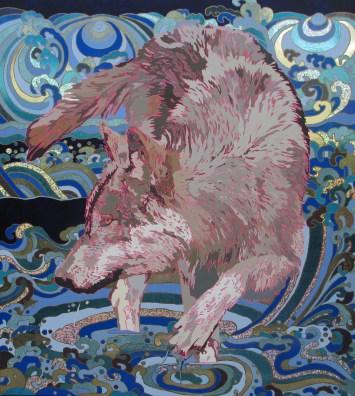 Fernanda Brunet, El lobo, 2013, mixta sobre lino, 180 x 160 cm