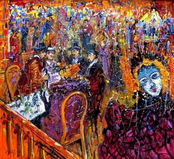 Jazzamoart, Las noches de Lautrec, 2015, Óleo sobre tela, 120 x 140 cm