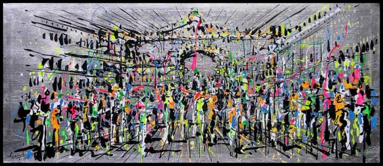 Jazzamoart, Los tragos de Andy Warhol, 2015, Óleo y acrílico sobre tela con hoja de plata, 50 x 120 cm