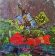 Pablo Cotama, Del camino sin retorno Neanderthal blablablá, 2016, pintura plástica sobre bastidor rígido, 25 x 25 cm.