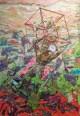 Pablo Cotama, Una erupción, un gigante ..., 2016, pintura plástica y tramas plastificadas sobre tela, 100 x 145