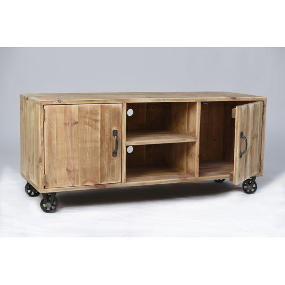 meuble tv marius style industriel 4 roues metal bois massif galerie artisan