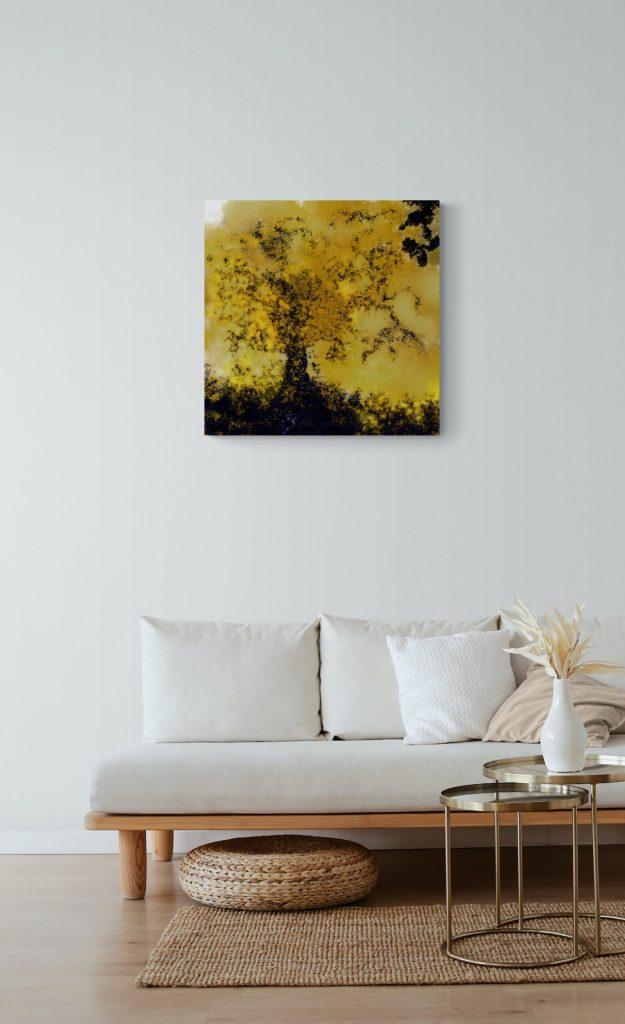 Second image of 'Tree of Life' - Remarkable art print inspired by the golden colors of nature in autumn in Occitanie, France. artist: Anne Turlais - Limited edition of 300. Signed Prints on Dibond.